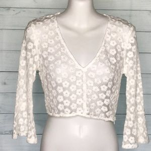 Honey Punch Crop Top Cream Floral Lace Bell Sleeve